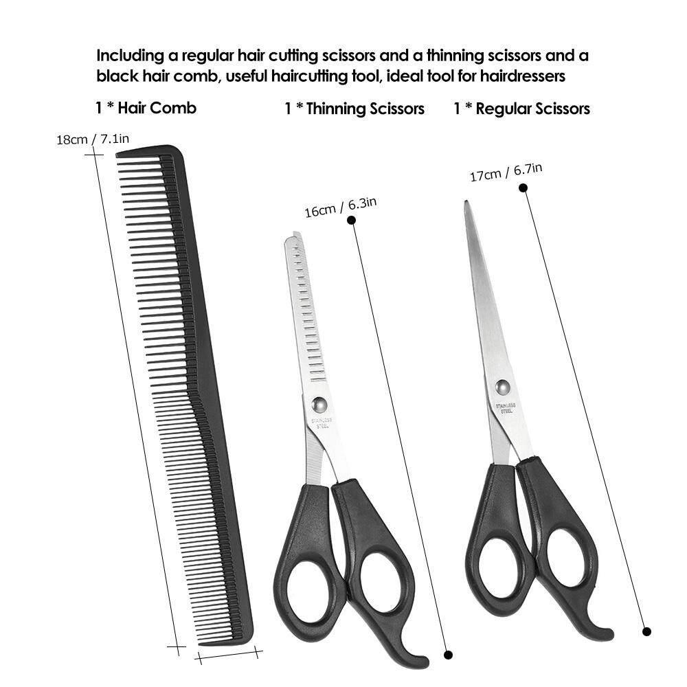 Leier Profesional Biru Diamond Set Alat Gunting Rambut Gaya 62hrc 3 Pcs Cutting Thinning Scissors Sisir Tata