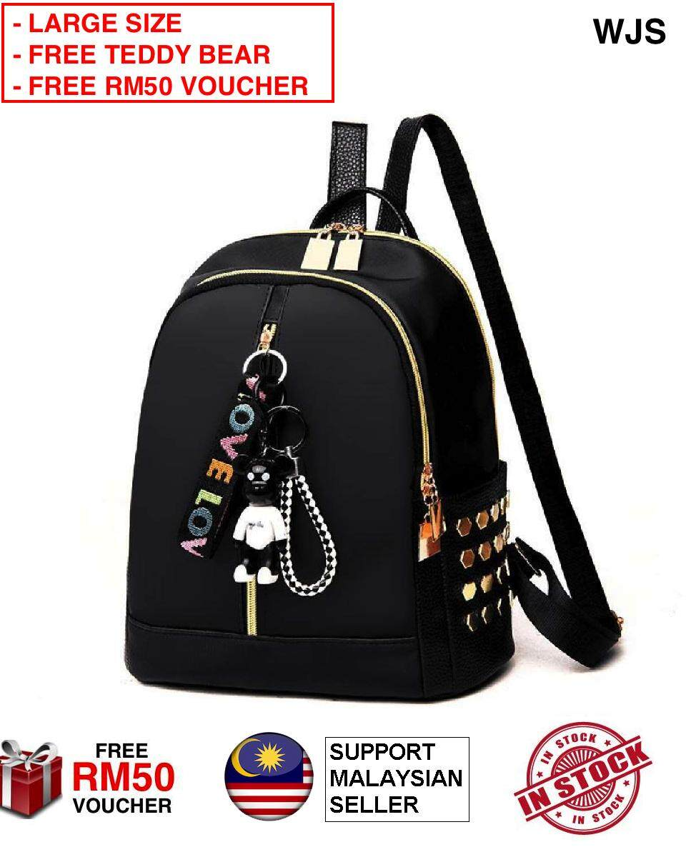(FREE TEDDY BEAR) WJS Women Fashion Leather Love Tag Backpack Bag 2 Way Zipper with Love You Tag for Women Girls Teenager Lady Feminine Water Resistant Casual Backpack Bag Pack (FREE RM50 VOUCHER)