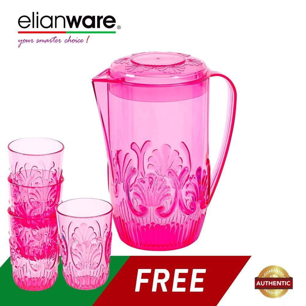 Elianware 2 Ltr Acrylic Beautiful Water Jug FREE 4 Cups