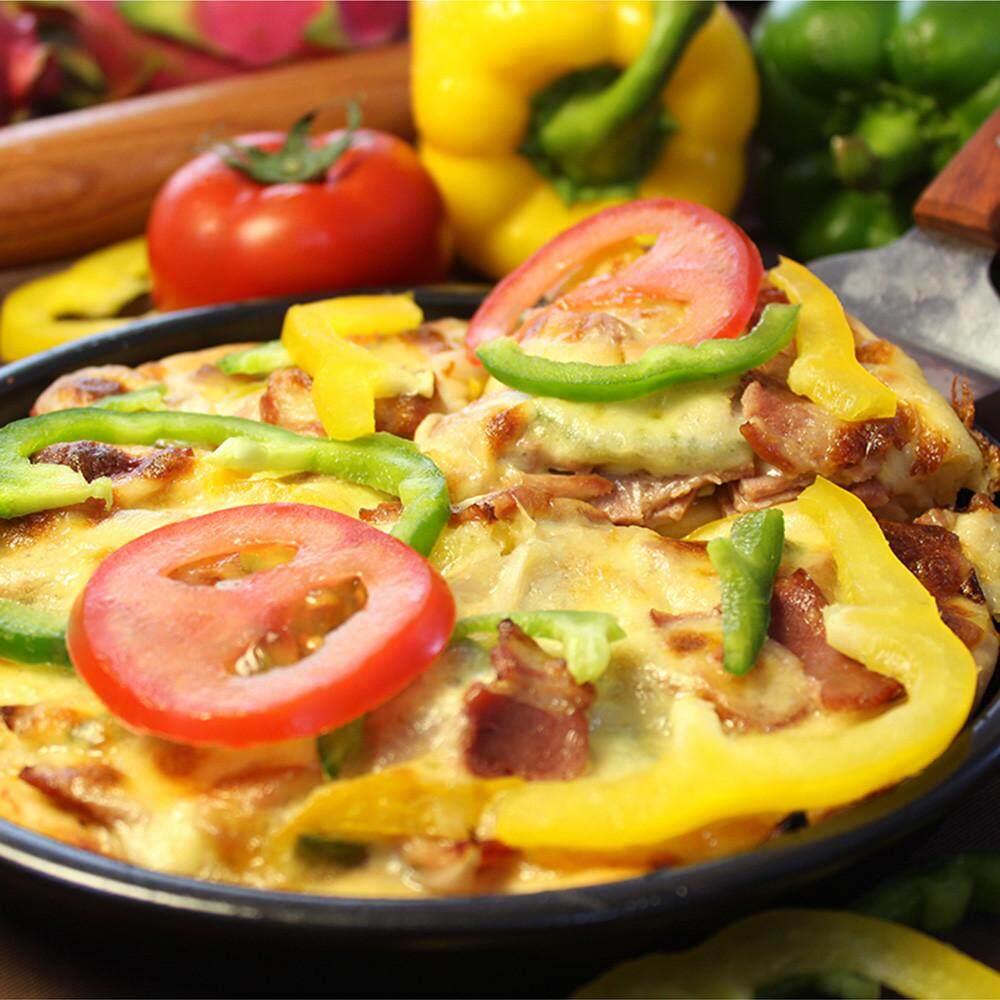 8 Inch Sepanjang Pizza Pan Tray Karbon Baja Non-stick Oven Pizza Piring Pan-Internasional