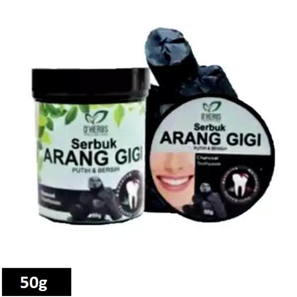 Dherbs Serbuk Arang Gigi 50g Teeth Whitening Toothpaste