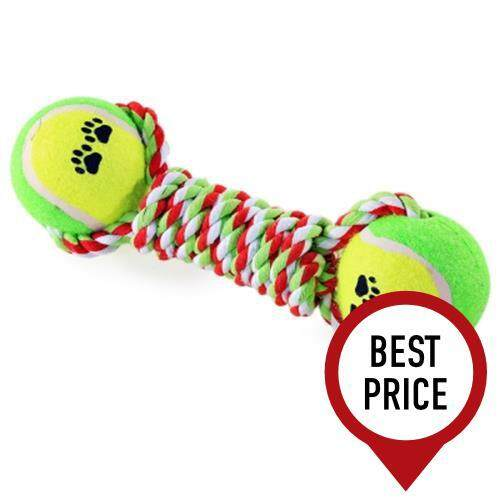 COTTON KNOT ROPE DOG CHEW TRAINING PET TOY WITH TENNIS BALL (COLORMIX)