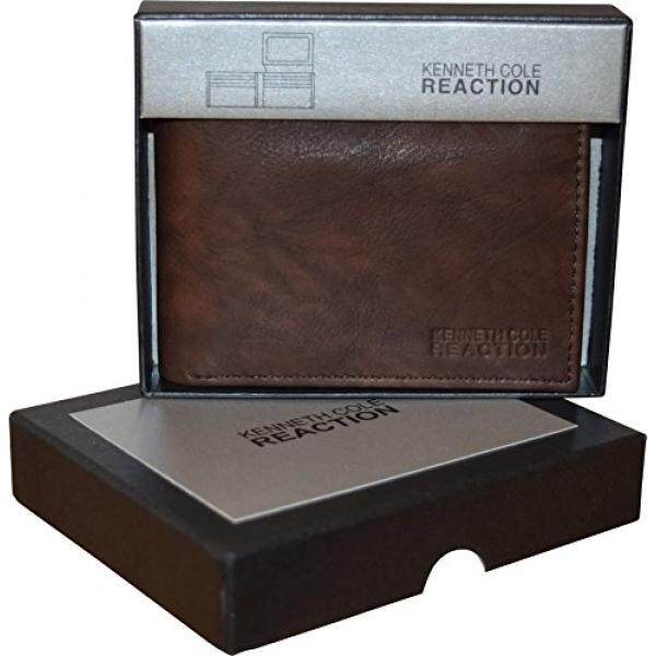 Kenneth Cole Reaction Mens Genuine Leather Passcase Wallet With Gift Box - intl