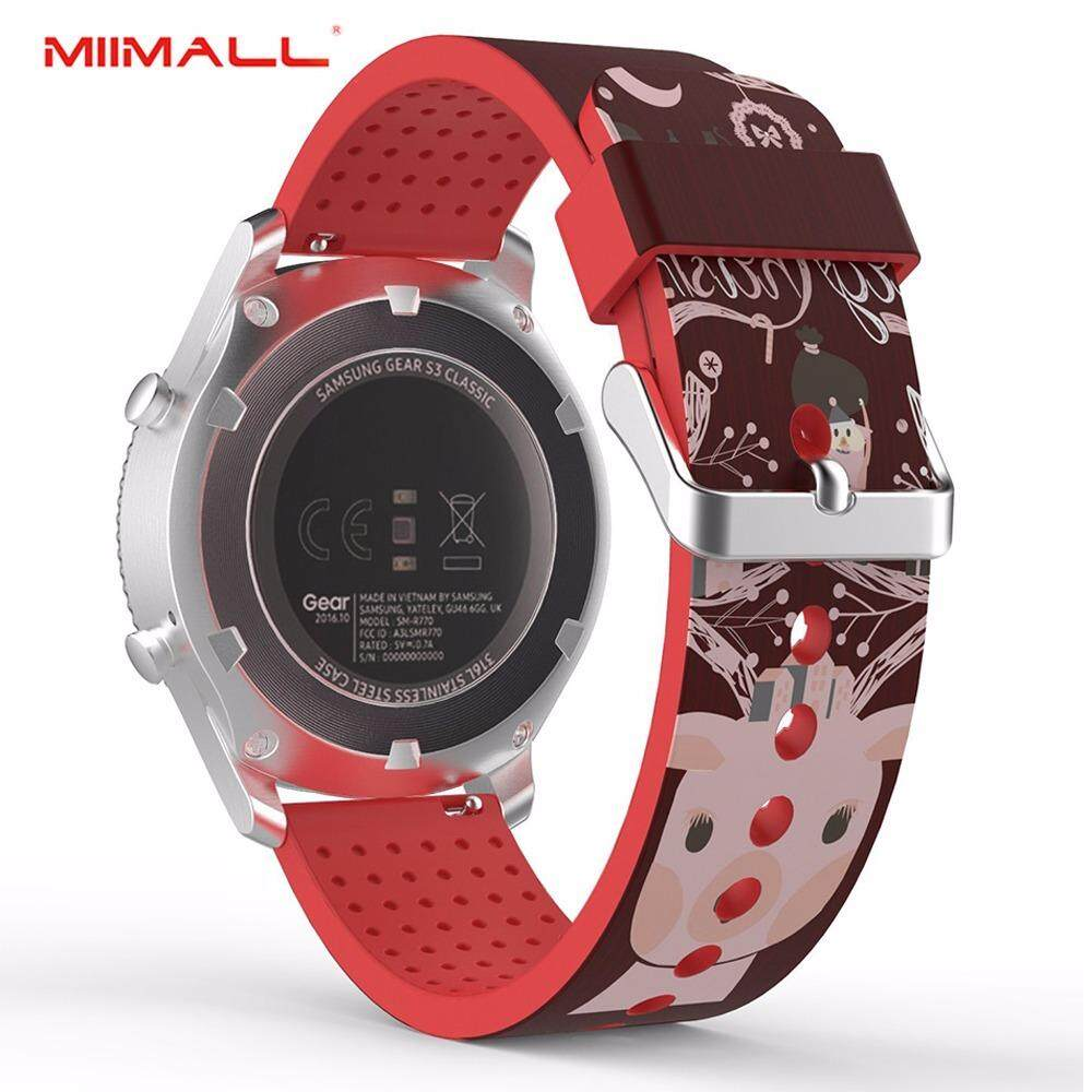 Miimall Gear S3 Classic/ Frontier Watch Band, Soft Silicone Replacement Print Sport Strap for Samsung Gear S3 Frontier/ S3 Classic/ Moto 360 2nd Gen 46mm Smart Watch - Town & Deer
