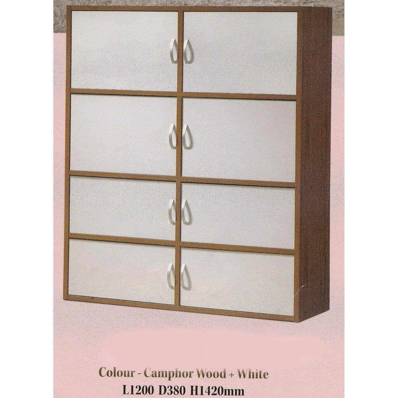 8 Door Solid Book Case Cabinet L1200MM X W380MM X H1420MM (Camphor Wood + White Color) Pre Order 2 Week