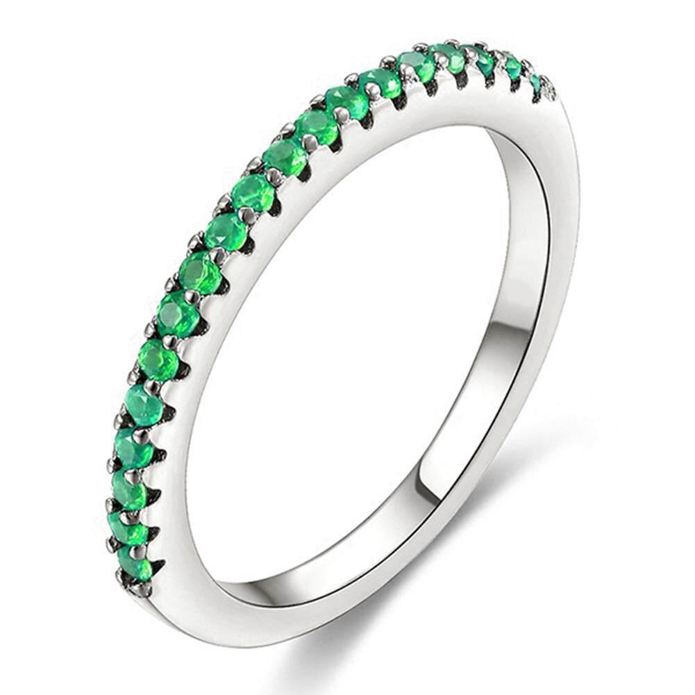Semua-Cocok Wanita Tunggal Dayung Zirkon Jari Cincin Pernikahan Partai Pengantin Perhiasan Hadiah U.s. 7