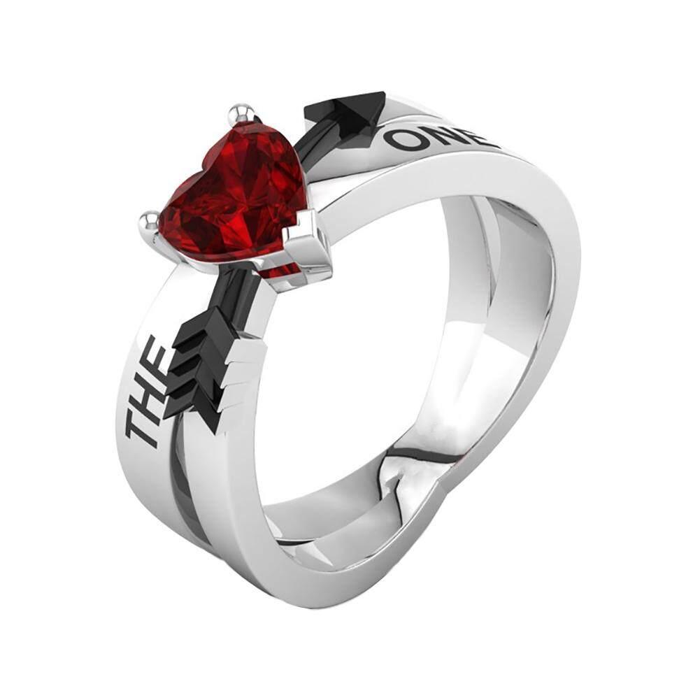 Modis Sterling Perak Ruby Jantung Alami Batu Permata Kristal Anniversary Pertunangan Pernikahan Lingkaran untuk Wanita Ukuran 6-10-Internasional