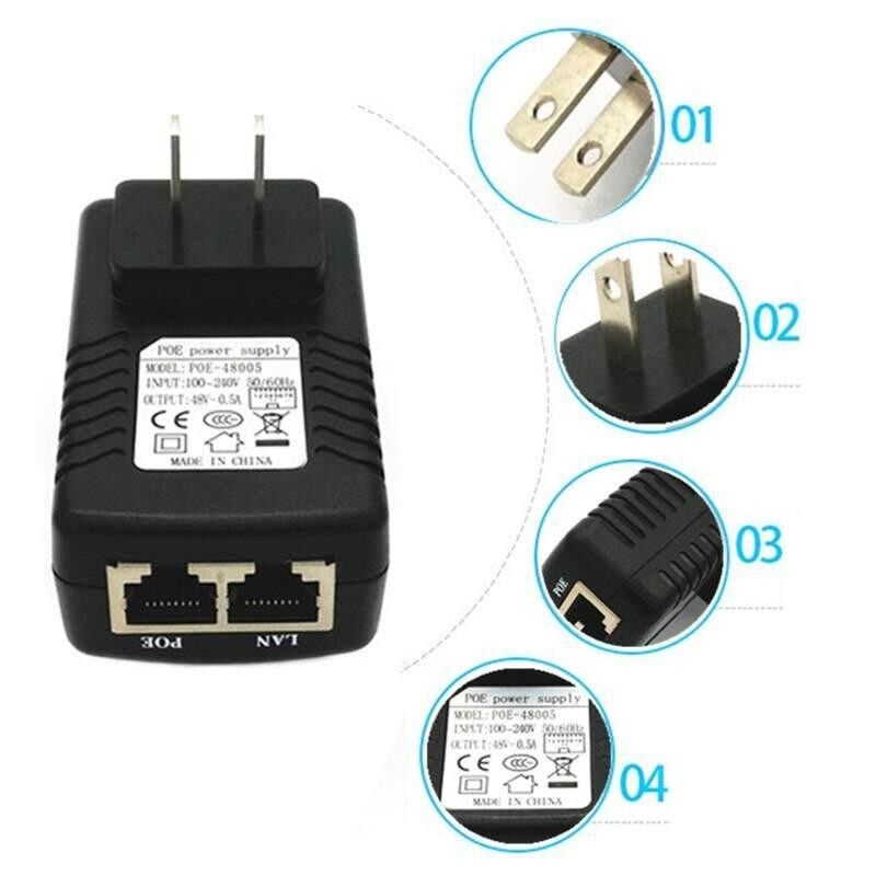 Black 24V 1A POE Injector Power Over Ethernet Adapter US Plug Power Supply - intl