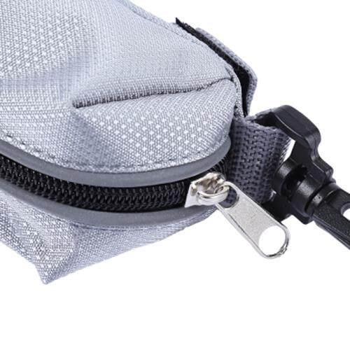 PETHING DOG POOP PICK-UP BAG HOLDER CARRIER POUCH OUTDOOR WITH CARABINER HOOK (GRAY)