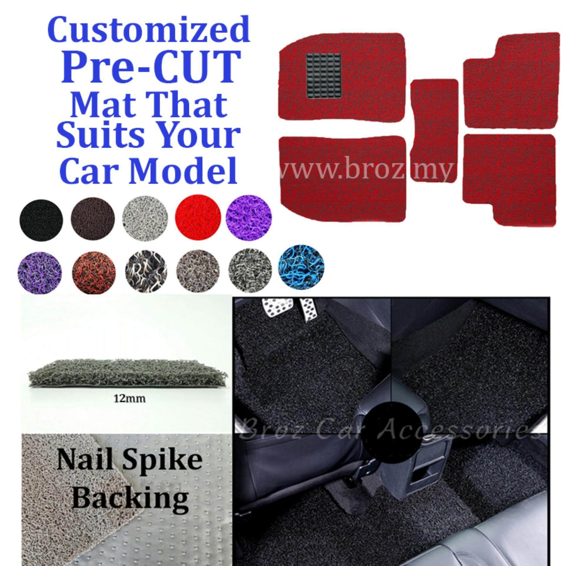 Broz Mercedes E-200 12MM Customized PRE CUT PVC Coil Floor Mat with Driver Rubber Pad Anti Slip Carpet Nail Spike Backing - Red Black