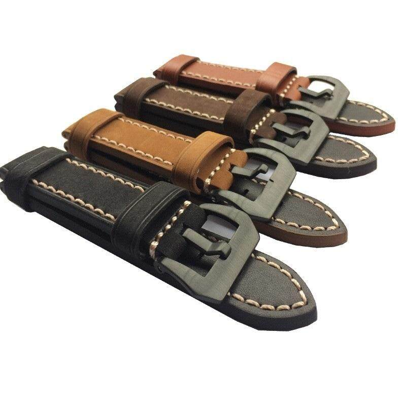 22mm Leather Watch Strap Watch Band Man Watch Straps Black Brown green with Stainless Steel Black