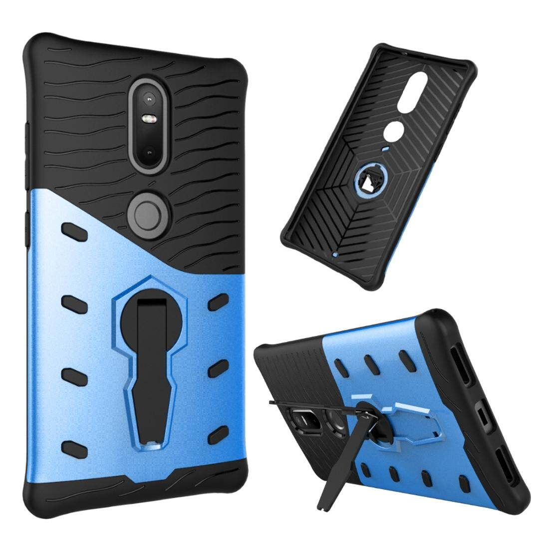 For Lenovo Phab2 Plus Shock-Resistant 360 Degree Spin Sniper Hybrid Case TPU + PC Combination Case with Holder(Blue) - intl