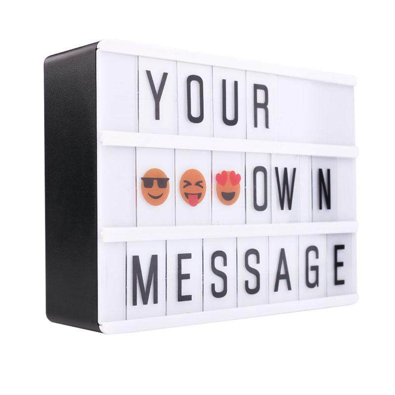 208 Combination LED Night Light Box USB Port DIY Black Letters Cards Lamp Message Board Party Sign Cinema Lightbox A6 - intl