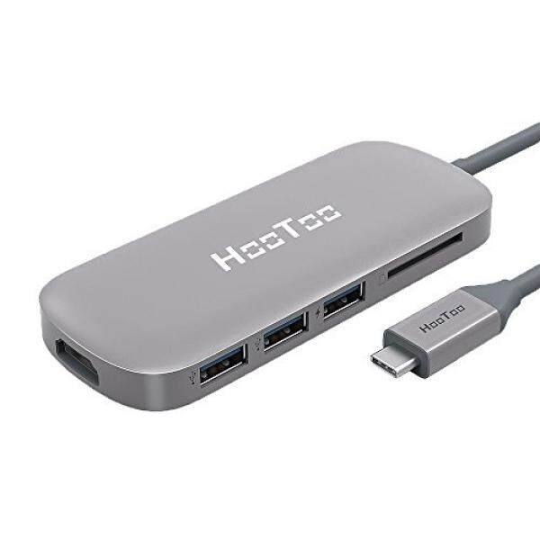 USB C Hub, HooToo USB C Adapter 3.1 with Type C Charging Port, HDMI Output, Card Reader, 3 USB 3.0 Ports for MacBook Pro 2015/2016, Google Chromebook 2016/2017 and more USB C Devices – Space Gray Malaysia