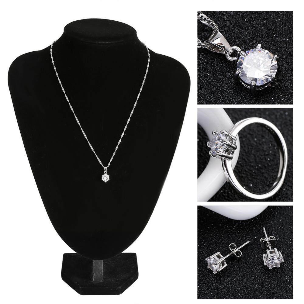 3 Jenis Zirkon Perhiasan Set Wanita Wanita Zirkon Perhiasan Set Paduan Kalung &