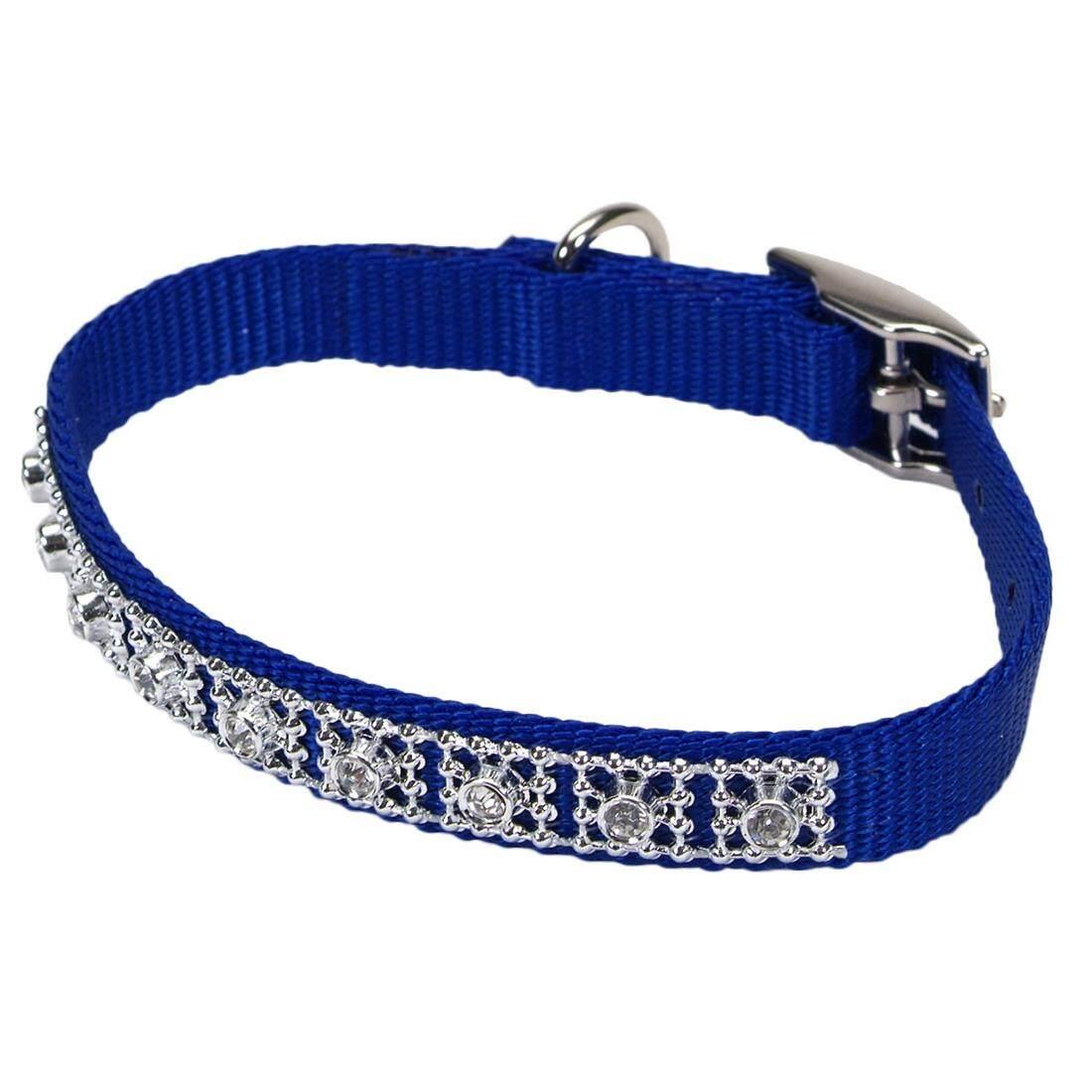 """[Coastal] Nylon Jeweled Dog Collar 3/8"""" - Blue"""