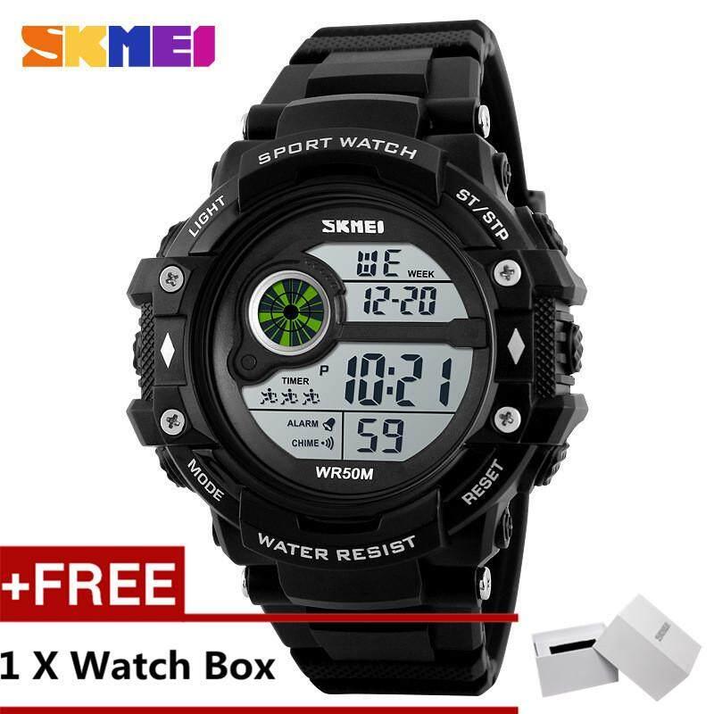 SKMEI 1280 Pria Olahraga Jam Tangan Bercahaya Kedap Air Digital Jam Tangan Tanggal + Gratis Yang SKMEI Kotak