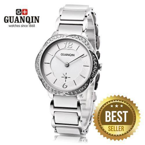 GUANQIN GS19006 WOMEN QUARTZ WATCH PETAL ARTIFICIAL DIAMOND DIAL CHRONOGRAPH FEMALE WRISTWATCH (WHITE)
