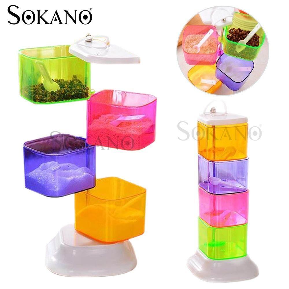 SOKANO RA757 Multipurpose Creative 4 Tiers Seasoning Box Seasoning Rack Kitchen Dapur Rack