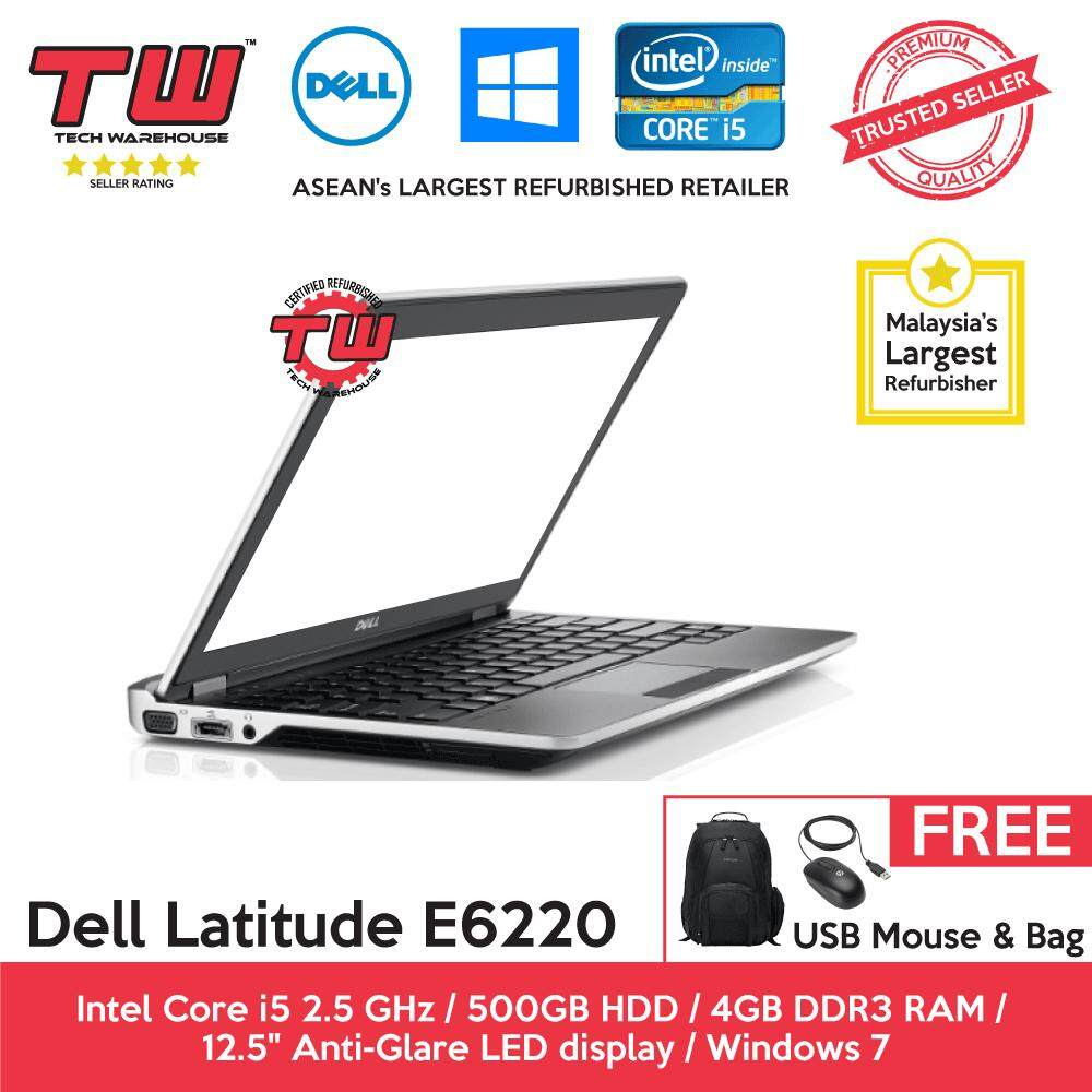 Dell Latitude E6220 Core i5 2.5 GHz / 4GB RAM / 500GB HDD / Windows 7 Laptop / 3 Month Warranty (Factory Refurbished) Malaysia