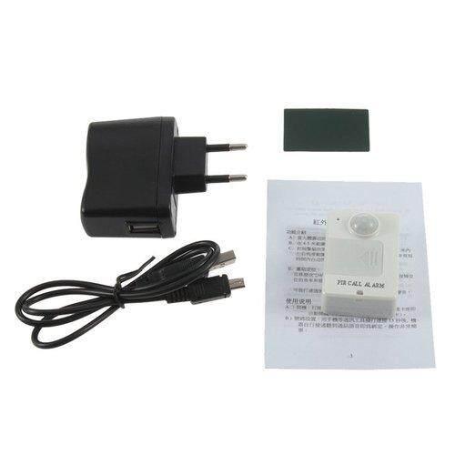 Tomsoo Mini Pir Waspada Sensor Inframerah GSM Nirkabel Alarm Monitor Gerakan Deteksi EU Steker (Putih