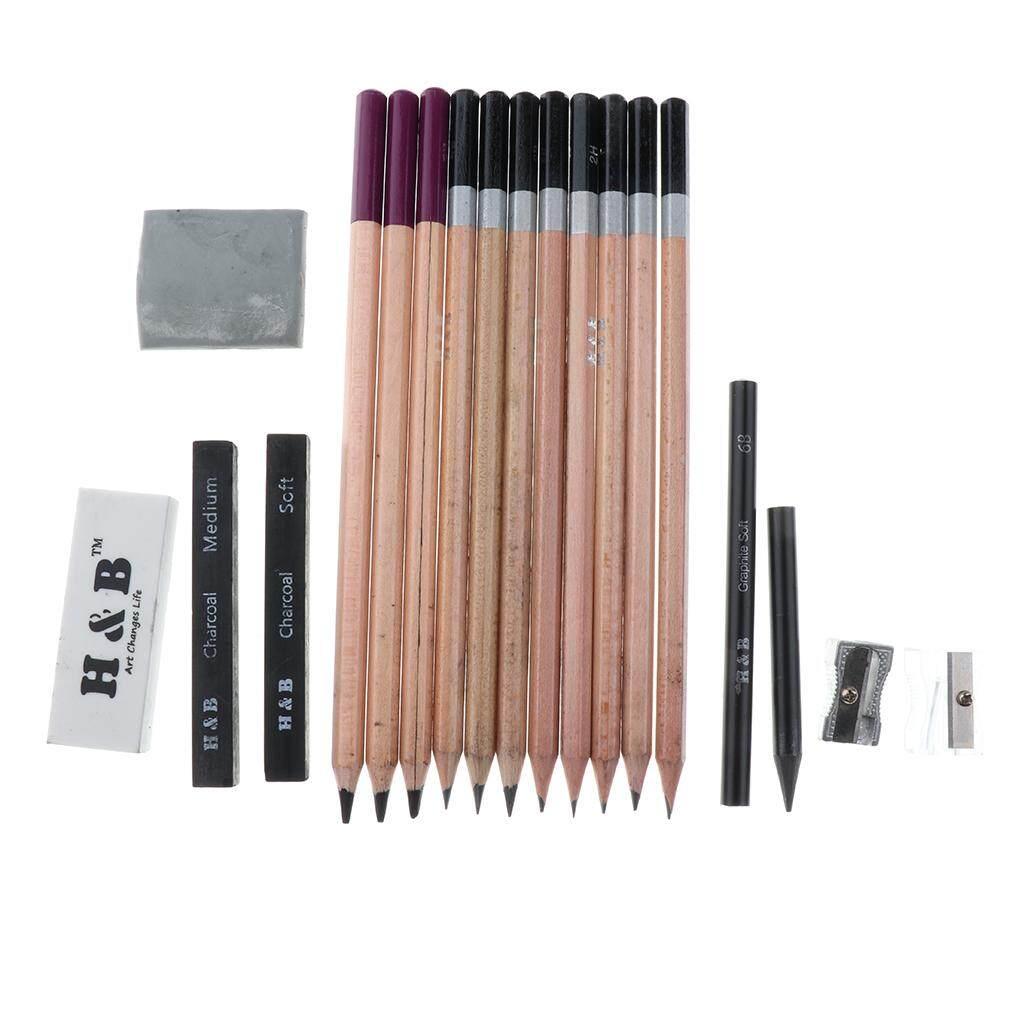BolehDeals 18pcs Professional Artist Sketch & Draw Pencil Set High Quality Premium Graphite Pencil Charcoal Sticks
