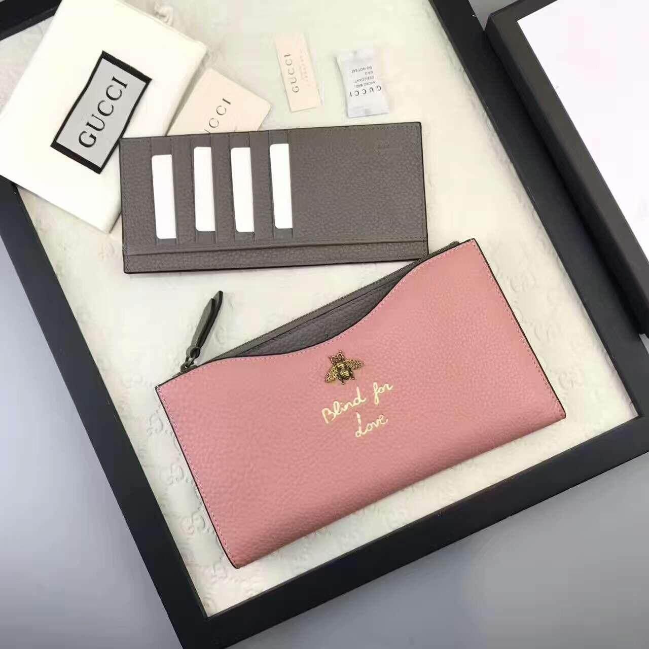 Gucci Animalier Dokumen Perjalanan Kasus Dompet Kulit Asli (3 Warna Hitam/Merah/Merah Muda)-Internasional