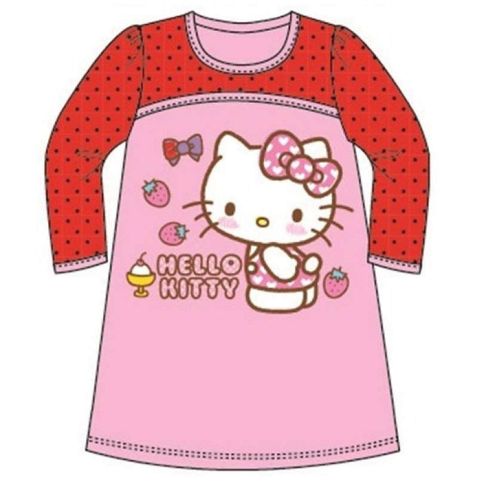 Sanrio Hello Kitty Long Sleeve Dress 100% Cotton 1yrs to 5yrs - Pink and Red Colour