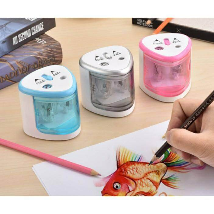 2 Holes Auto Pencil Sharpener Battery Operated Stationery Pencils Fast and Sharp