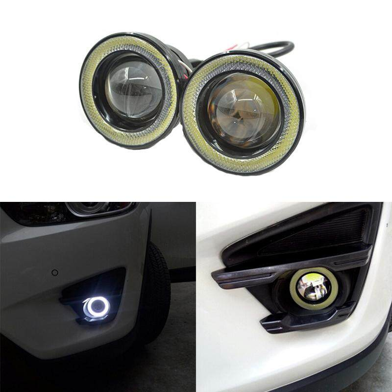 Car Fog lights Universal Waterproof 1200Lm Angel Eyes COB LED DRL Driving Lights 12V 30W Auto Fog Lamp 2.5 inch white (2Pcs)
