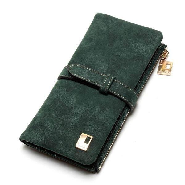 2018 New Fashion Women Wallets Drawstring Nubuck Leather Zipper Wallet Womens Long Design Purse Two Fold More Color Clutch