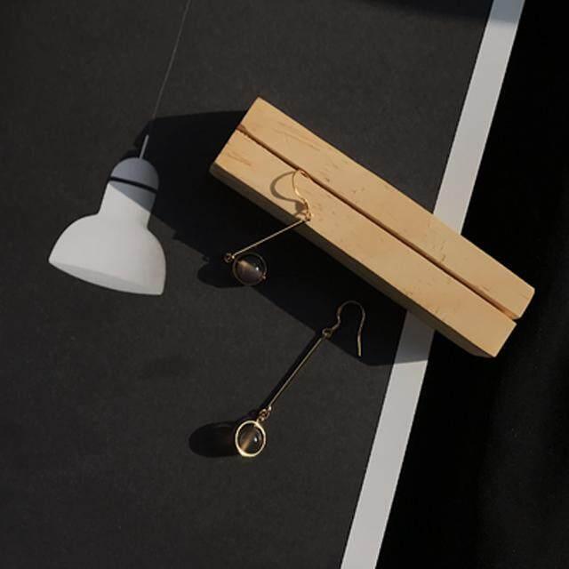 925 Perak Kait Jepang dan Korea Selatan Desain Asli Batu Alam Retro Anting-Anting Anting-Anting Wanita Temperamen Anting-Anting Tanpa Telinga Lubang telinga Klip (Gray Agate 925 Perak Gold Berlapis Earhook) -Internasional