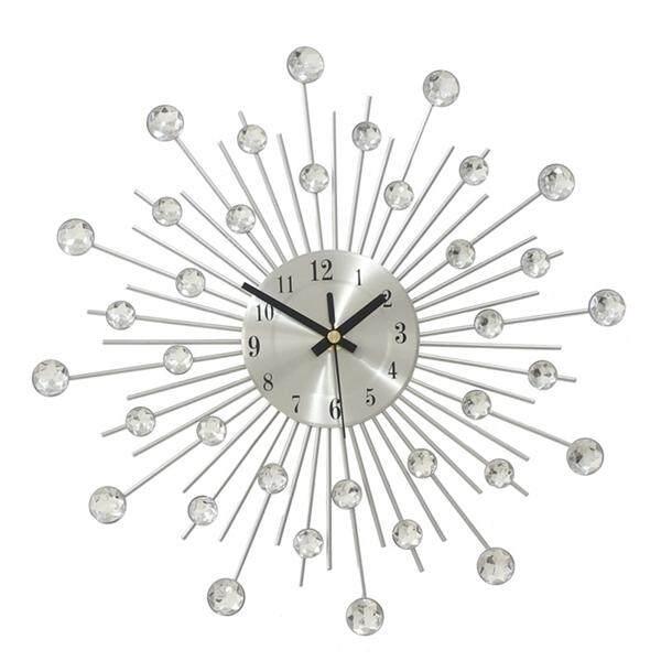 Review Handcrafted Diamante Beaded Crystal Jeweled Sunburst Analog Quartz Wall Clock Living Room Bedroom Decor On China