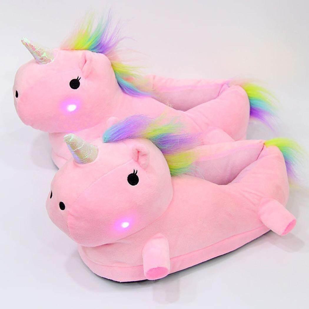 Hot Sale Astar Women Girl Home Unicorn Slipper Cute Plush Indoor Slippers with Led Light(Pink) - intl