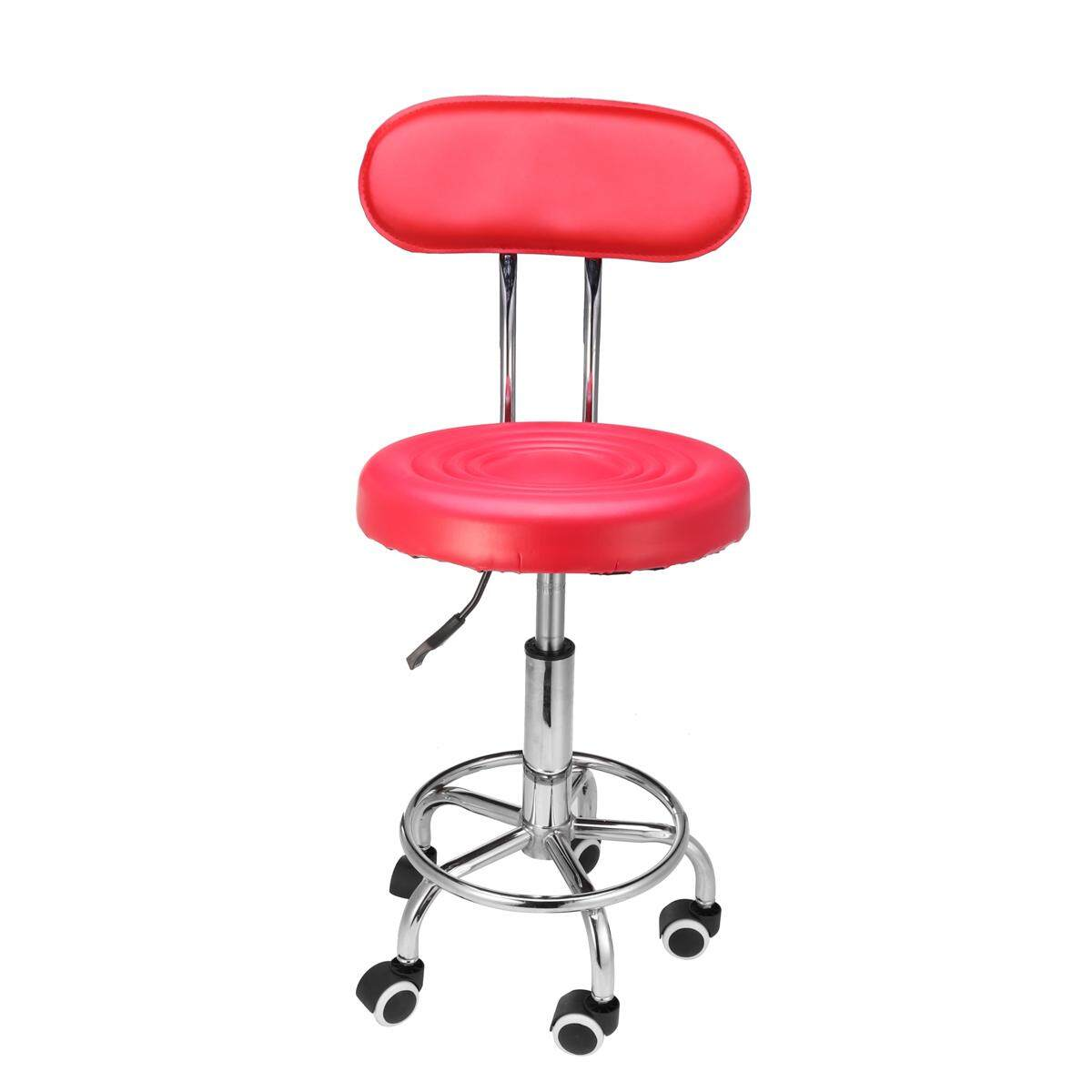 Salon Stool Kursi Putar Sandaran Hairdressing Barber Beauty Hydraulic Lift AU Merah-Internasional