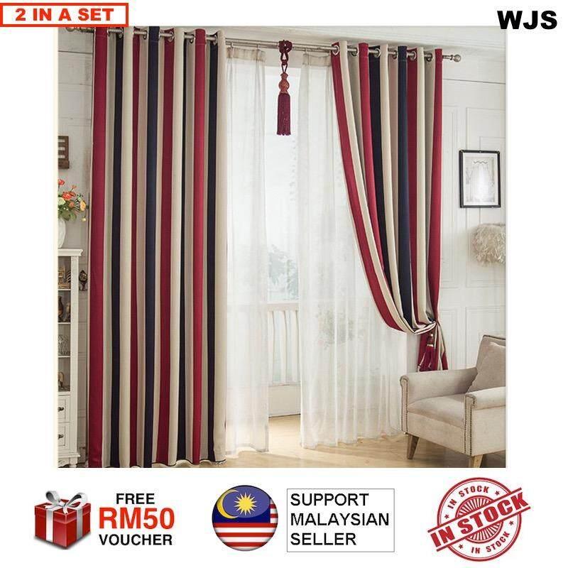 (PREMIUM CURTAIN) WJS 2pcs 2 pcs Premium Quality Bohemian Style Blackout Curtain Multicolor Bohemia Curtain [FREE RM 50 VOUCHER]