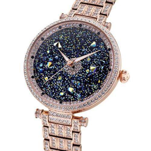 PRINCESS BUTTERFLY HL639 WOMEN QUARTZ WATCH IMPORTED MOVEMENT HARDLEX MIRROR AUSTRIA CRYSTAL WRISTWATCH (GOLDEN)