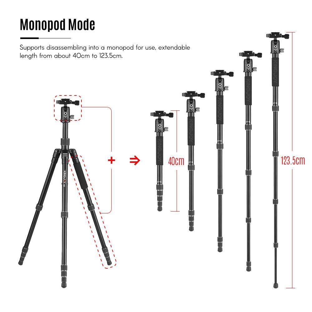 Kingjoy G22 + G00 Portabel Perjalanan Aluminium Paduan Kamera Tripod Monopod dengan 360 Derajat Bola Kepala 5 Bagian Yang Dapat Disesuaikan maks. kerja Tinggi 144.5 Cm untuk Canon Sony Nikon DSLR Ildc Kamera Maksimum. kapasitas Beban 8 KG-Internasional
