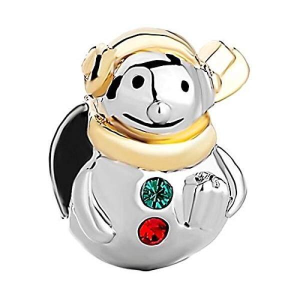 Snowman Pesona Merah Hijau Kristal Emas Disepuh Dijual Manik-manik Manis Sesuai Pandora Perhiasan Pesona Gelang-Internasional