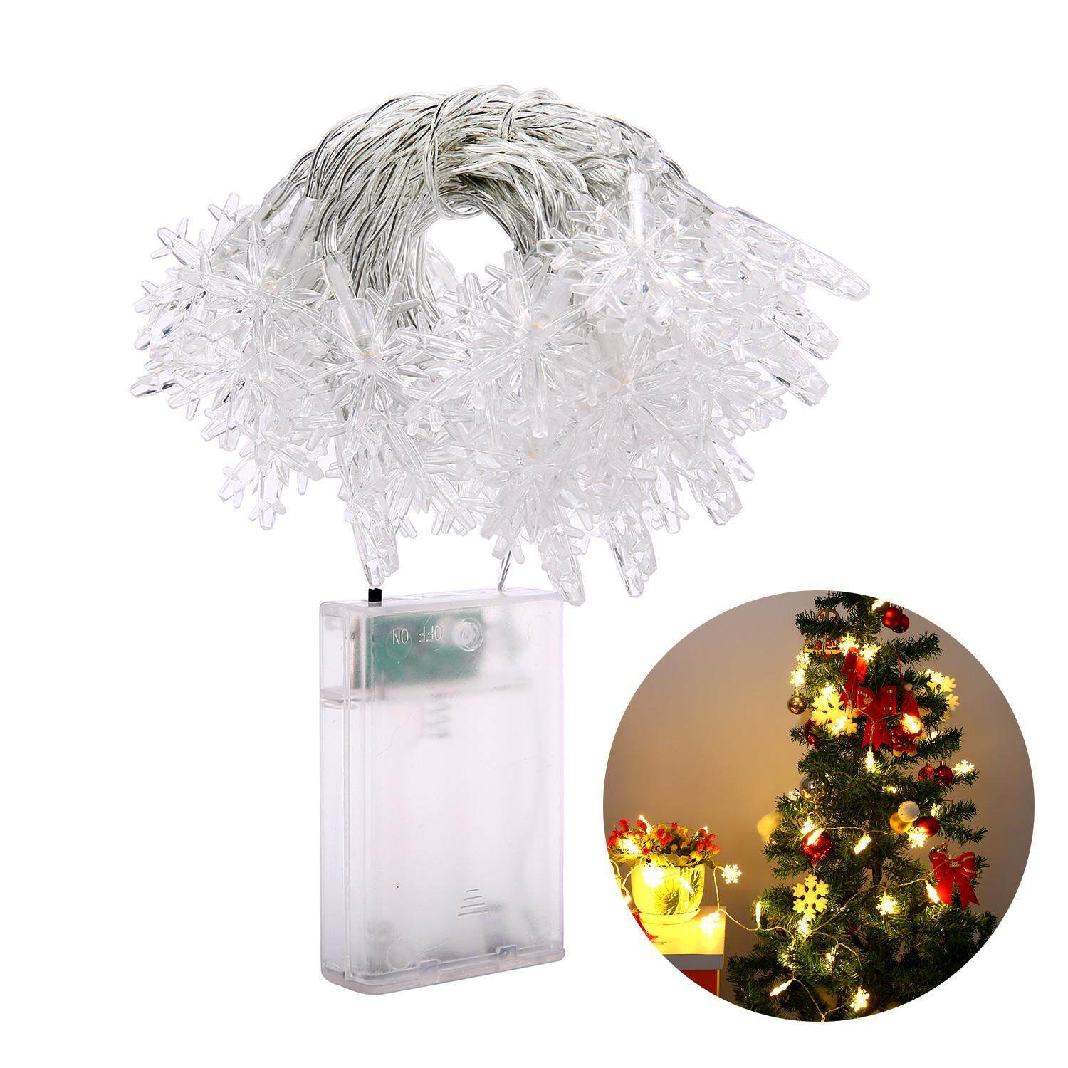 YJJZB 5 M 50 Leds Snowflake String Light Battery Operated Fairy Lights Christmas Party Wedding Decorations