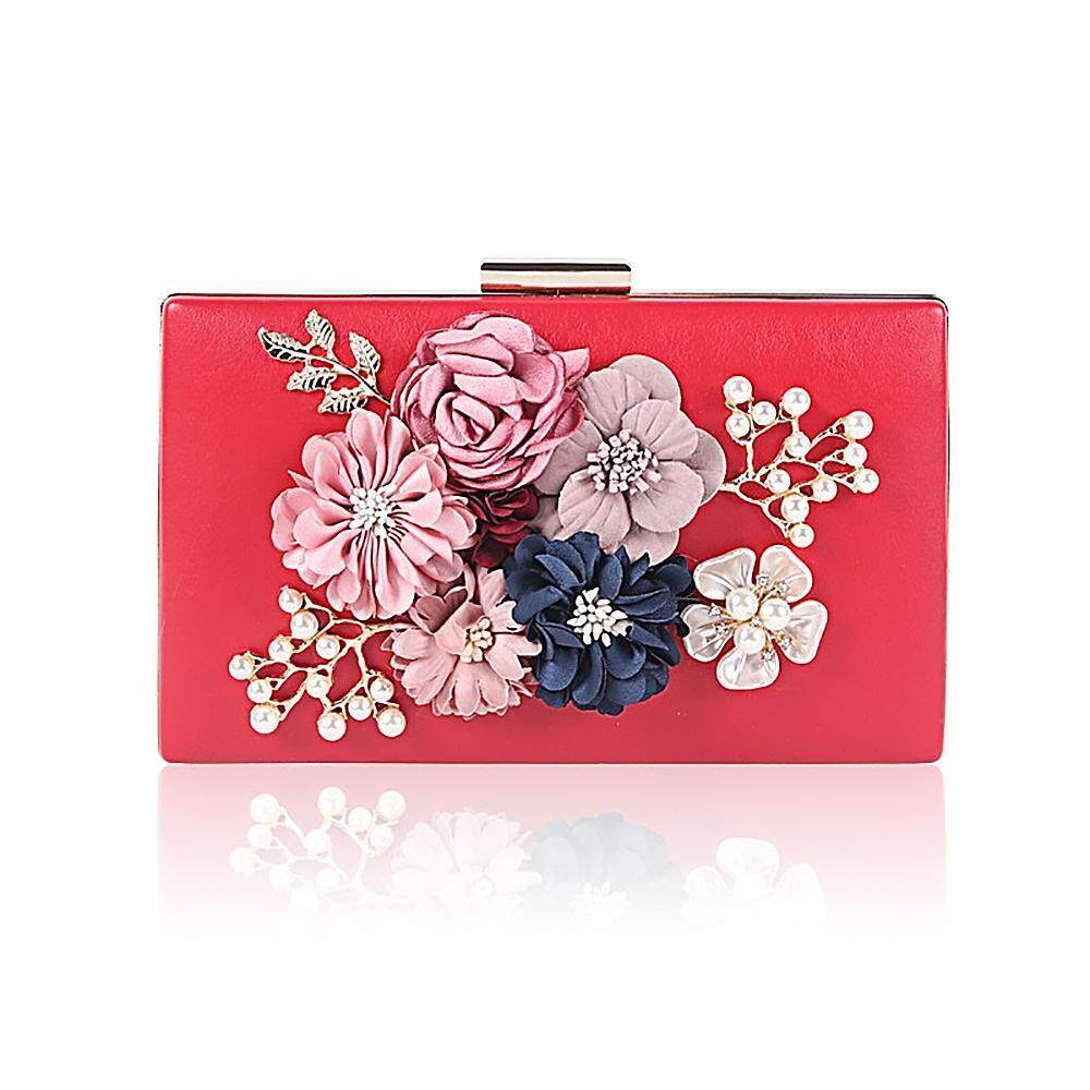 ac6abc6f2c3 MagnificentStore Lady Women Clutch Evening Bag (with Detachable Chain  Strap) ,Pearl Flower PU