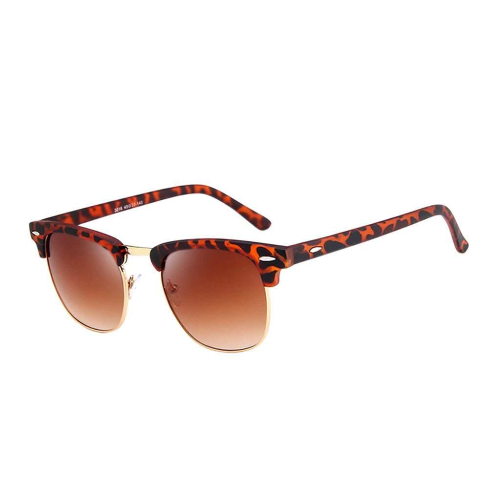 Dsstyles Retro Modis Setengah Bingkai HD Cermin Lensa Antik Kacamata Hitam untuk Pria Wanita Lensa Warna: Leopard Cetak Spesifikasi: 3016-Internasional