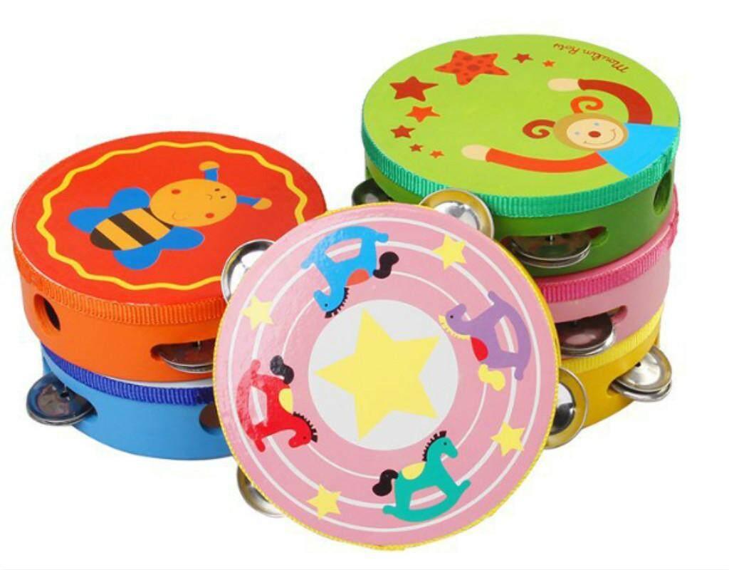 Kayu Bayi Drum Mainan Alat Musik untuk Anak-anak Instrumen Perkusi Gantung Drum Musical Handbells Mainan Bayi Musik-Internasional