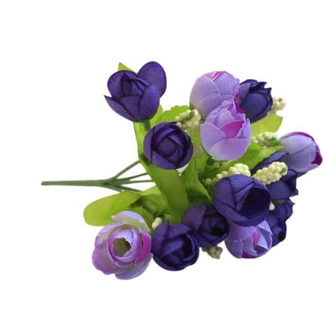 15 Kepala Buatan Mawar Sutra Palsu Bunga Daun Rumah Dekorasi Pengantin Buket Biru-Internasional