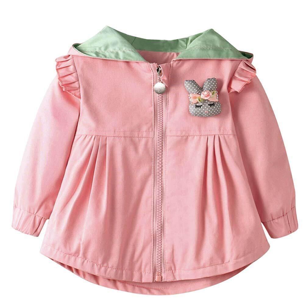 Gadis Musim Gugur Anak Jaket Musim Dingin Ritsleting Berkerudung Kelinci Telinga Mantel