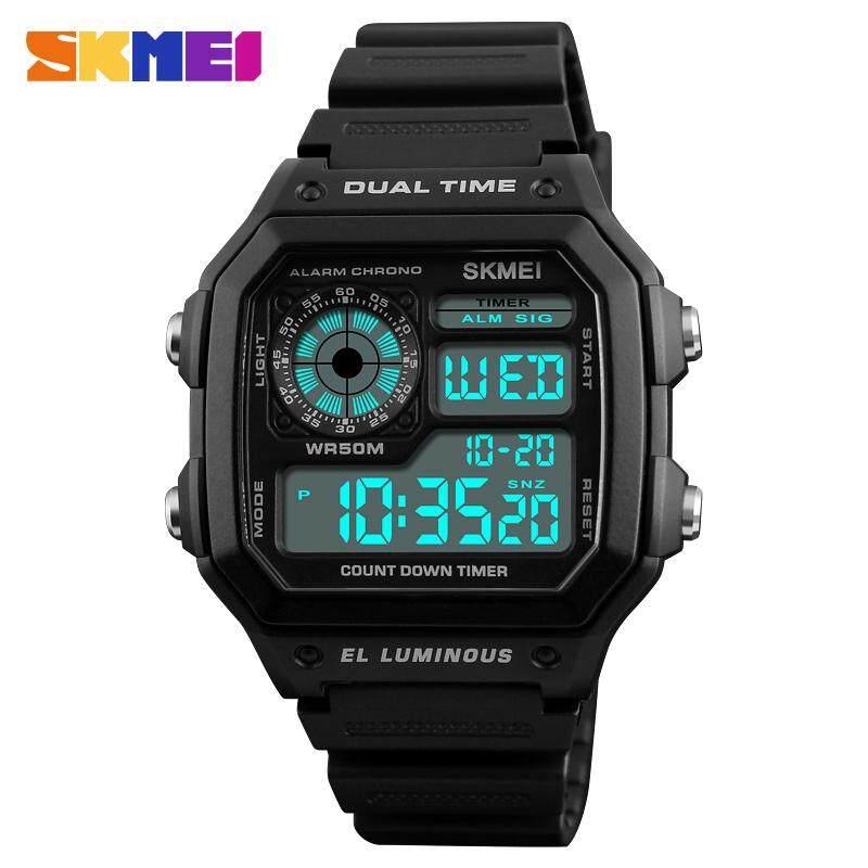 นาฬิกาข้อมือ Skmei ชายกีฬานาฬิกานาฬิกาดิจิตอลทหารกลางแจ้งนาฬิกานำนาฬิกาอิเล็กทรอนิกส์คู่นาฬิกาข้อมือนาฬิกากันน้ำ 1299.