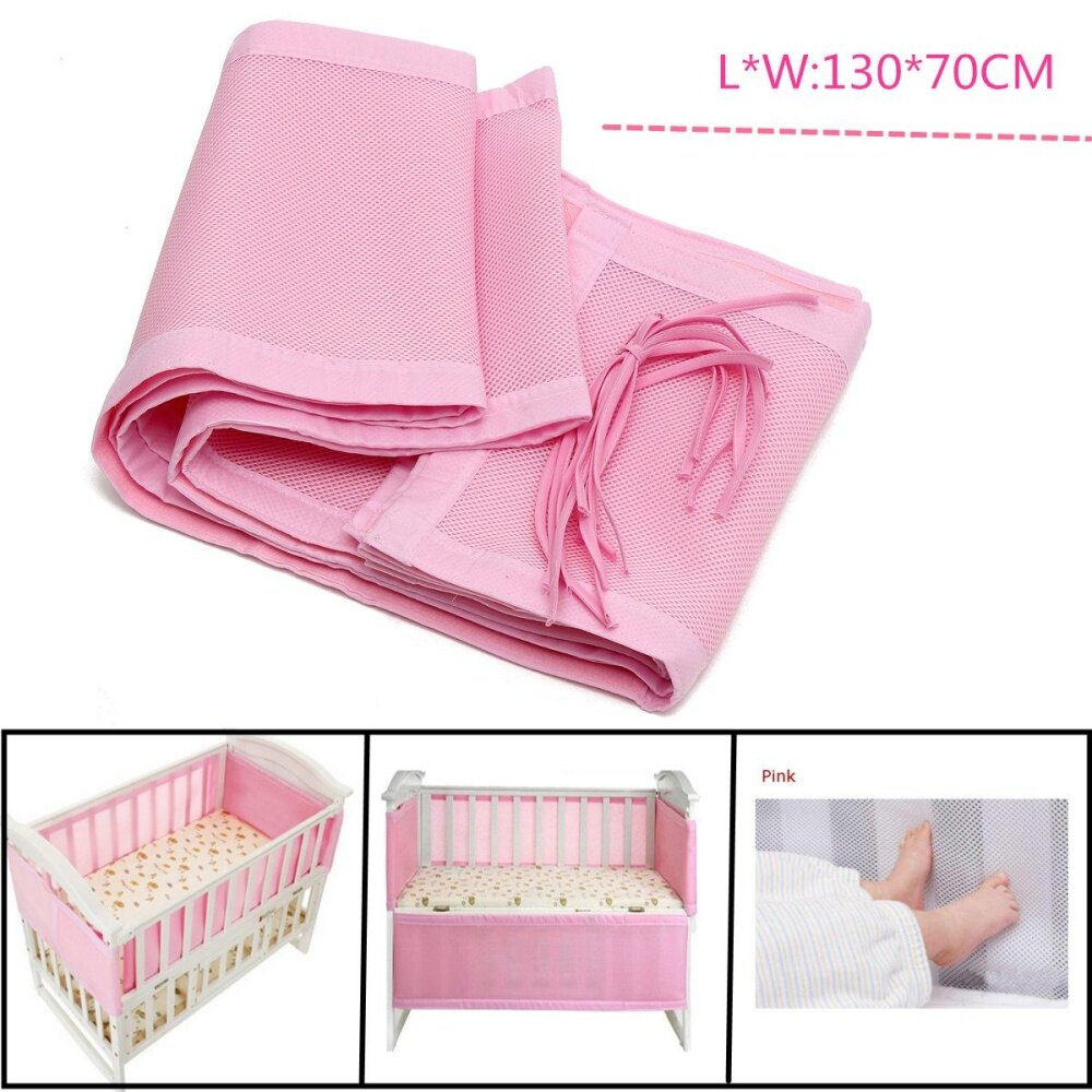 130x70cm Pink Breathable Infant Baby Bed Mesh Bumper Crib Liner Protection Pad By Moonbeam.