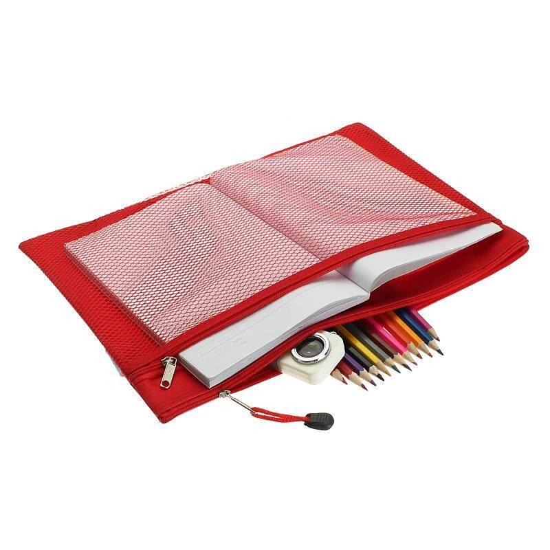 Mua Colorful Double Layer canvas Cloth Zipper Paper File Folder Book Pencil Pen Case Bag File Document Bags Red - intl