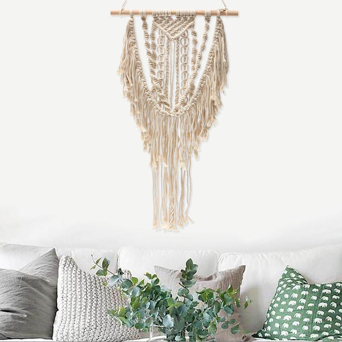 macrame wall hanging boho canvas nursery art bohemian tapestry fibre decor - intl