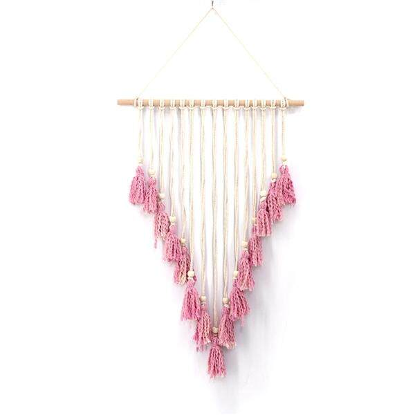 Macrame Woven Wall Hanging Boho Chic Bohemian Home Geometric Art Decor Beautiful Apartment Dorm Room Decoration 74x50cm (Beige and Pink)